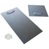 Zelfklevende metalen houder (2 stuks per plaat). Afhankelijk van de grootte en het gewicht van het plaatmateriaal levering in 10 x 10cm of 10 x 20cm incl. zelfklevende rubberen afstandhouders.