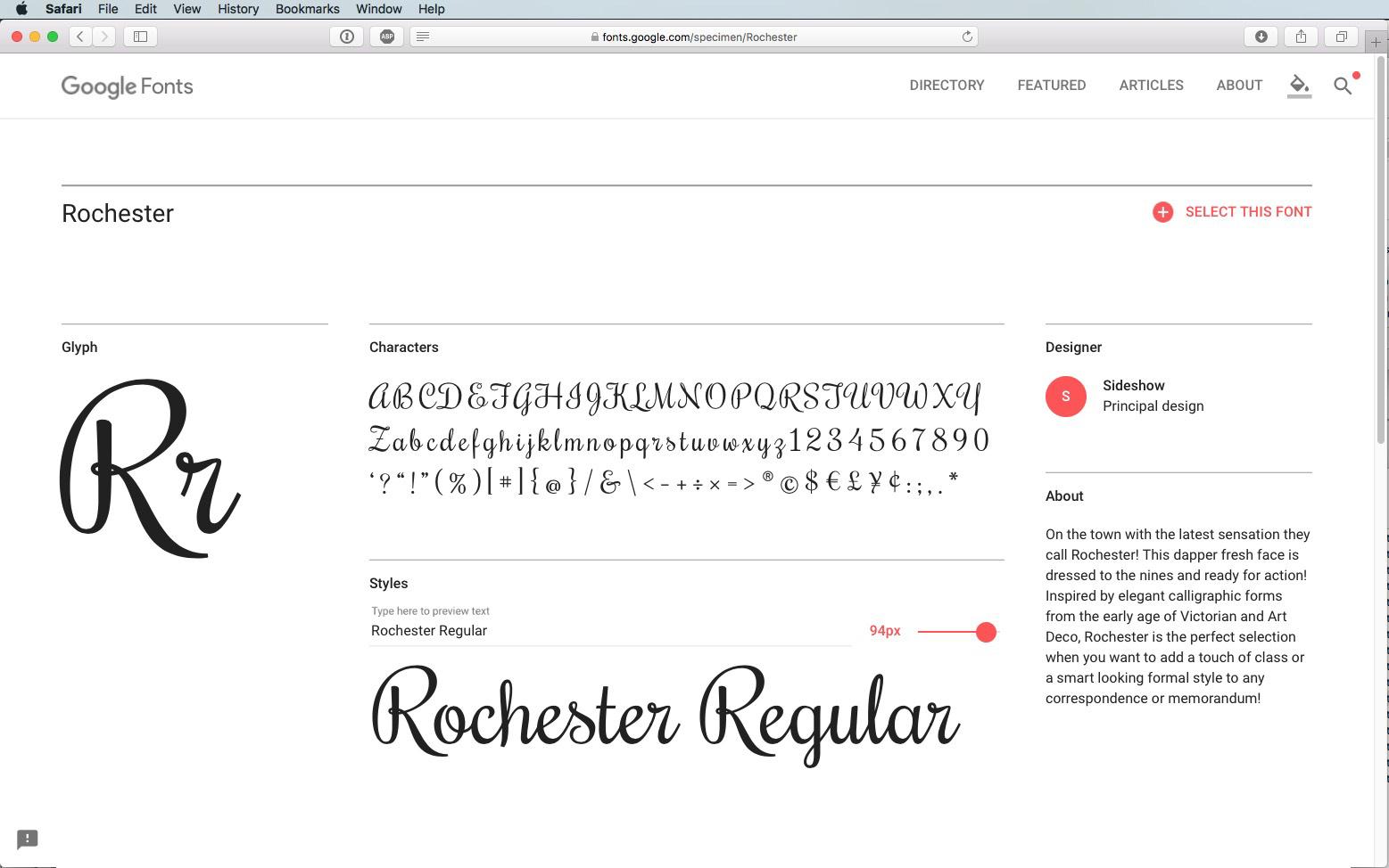 Script Font Rochester Regular