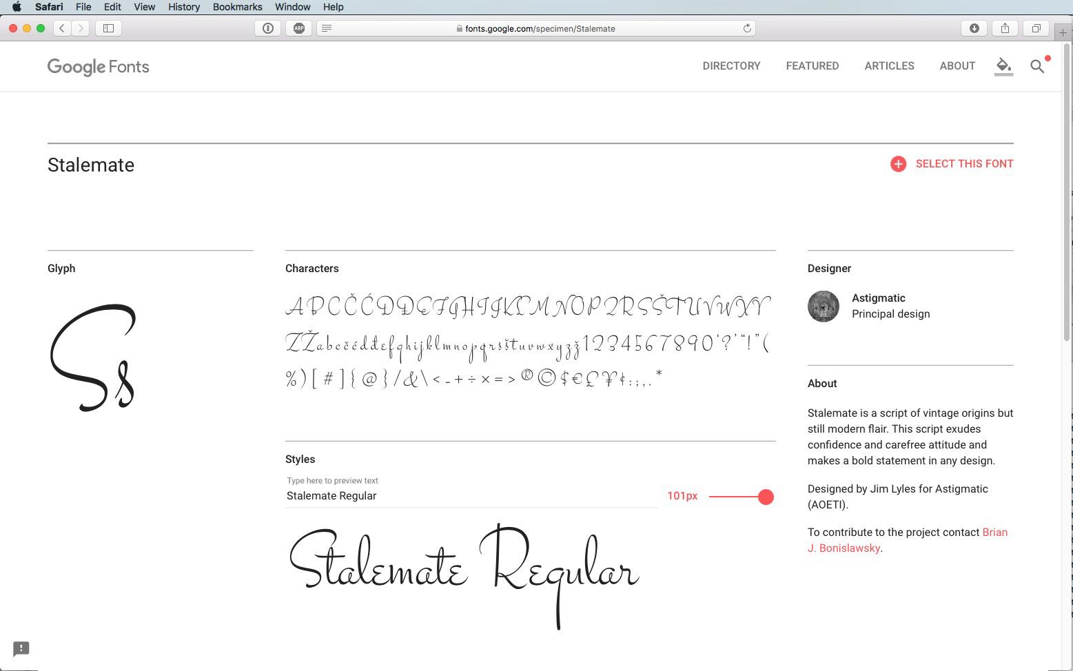 Script Font Stalemate Regular